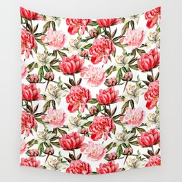 Peonies and Lilies - flower pattern no 1 Wall Tapestry
