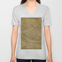 Map Of Pittsburgh 1830 Unisex V-Neck