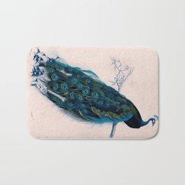 Vintage peacock bird print colorful feathers 1800s antique art nouveau deco nature book plate Bath Mat
