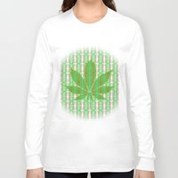 marijuana Long Sleeve T-shirts featuring Marijuana Leaf by Trusty Russ Tees
