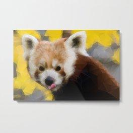 Red Panda in Triangles Metal Print