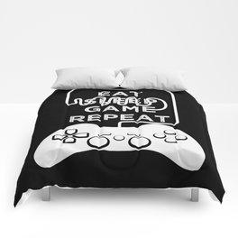 Eat Sleep Game Repeat Comforters