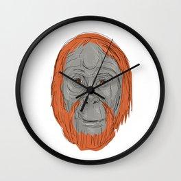 Unflanged Male Orangutan Drawing Wall Clock
