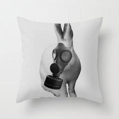 gas mask rabbit Throw Pillow