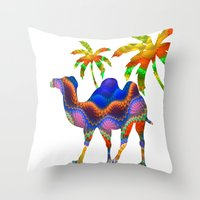 camel Throw Pillows featuring Camel by haroulita
