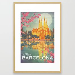 Barcelona Spain Vintage Travel Poster Framed Art Print