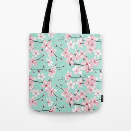 Cherry blossom mint green and pink Tote Bag