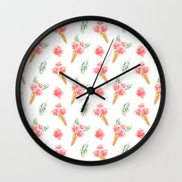 Floral Cones Pattern Wall Clock