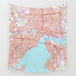 Vintage Map of Jacksonville Florida (1964) Wall Tapestry