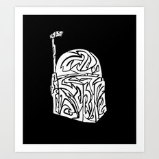Boba Fett [White on Black] Art Print