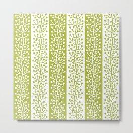 Mid Century Modern Berry Vine Stripes Chartreuse Metal Print