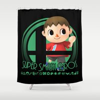 super smash bros Shower Curtains featuring Villager - Super Smash Bros. by Donkey Inferno