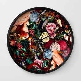 Floral and Animals pattern II Wall Clock