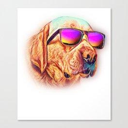 Labrador Retriever Colorful Neon Dog Sunglasses Canvas Print