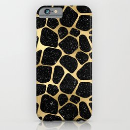 Glam Black and Gold Giraffe Print iPhone Case