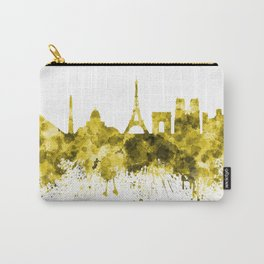 Paris skyline in yellow watercolor on white background Carry-All Pouch