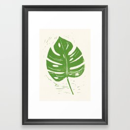 Linocut Leaf Framed Art Print