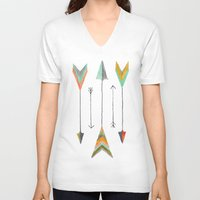 arrows V-neck T-shirts featuring Arrows by Hayley Lang