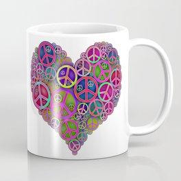 Retro Peace & Love Heart Coffee Mug