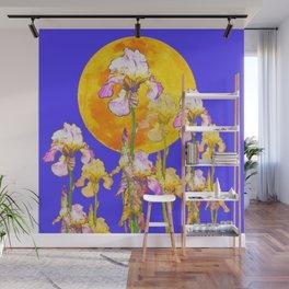 IRIS GARDEN & RISING GOLD MOON  DESIGN ART Wall Mural