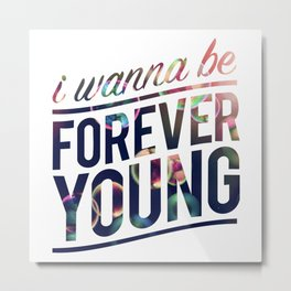 1D one direction I wanna be forever Twhite Metal Print