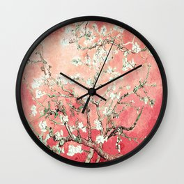 Van Gogh Almond Blossoms : Peach Wall Clock