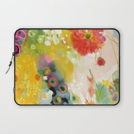 abstract floral art in yellow green and rose magenta colors Laptop Sleeve
