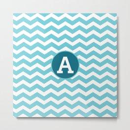 Monogrammed Chevron Letter Art Metal Print