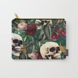 Flowers and Skulls (Green) Carry-All Pouch