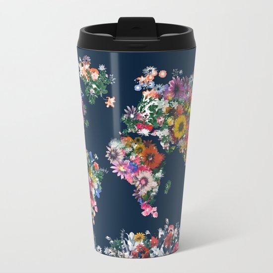 world map floral Metal Travel Mug