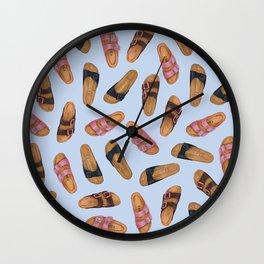 Birkenstocks Sandals Pattern | Pastel Blue Birkenstocks | Watercolor design pattern Wall Clock