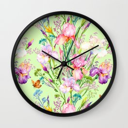 Pastel Pink & Lilac Iris Floral Pattern With Butterflies Wall Clock
