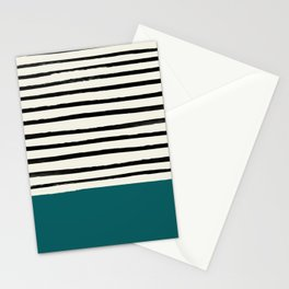 Dark Turquoise & Stripes Stationery Cards