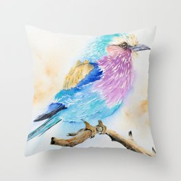 The Fuzzy Ball - Lilac-breasted roller bird Watercolor Painting Print by Nisha Sehjpal Throw Pillow