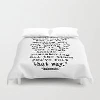 bukowski Duvet Covers featuring Charles Bukowski Typewriter Quote Morning by Fligo