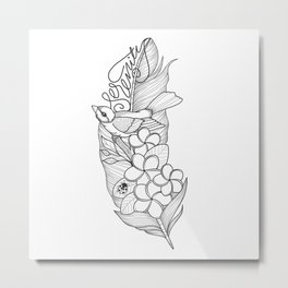 Serenity, Plumeria and a little Bird Metal Print