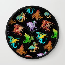 Colorful Rainbow Dragons School Wall Clock