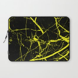 Yellow Marble Pattern - Abstract, black and yellow Laptop Sleeve