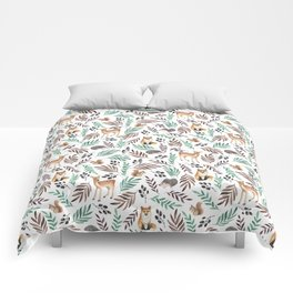 Cute forest. Watercolor Comforters