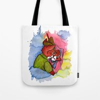 robin hood Tote Bags featuring Robin Hood and Maid Marian by KitschyPopShop