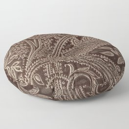 Cocoa Brown Tooled Leather Floor Pillow