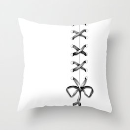 Laced Gray Ribbon on White Throw Pillow