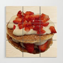 pancakes_strawberries_and_whip_cream Wood Wall Art