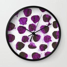 Deep purple floating ink blobs. Wall Clock