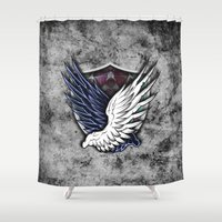 shingeki no kyojin Shower Curtains featuring Wings of Freedom by jpmdesign