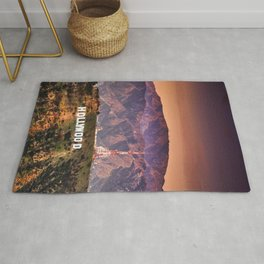 hollywood sign aerial view Rug