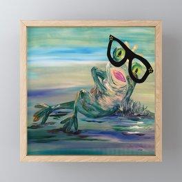 Hipster Frog Princess Framed Mini Art Print