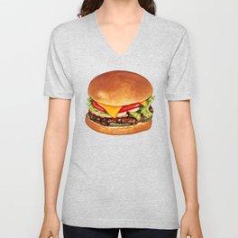 Cheeseburger Pattern 4 - Blue Unisex V-Neck