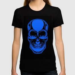 Skull In Blue And Black Halloween Art Cool Simple Design T-shirt