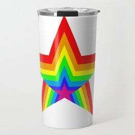 Bright Hypnotic Rainbow Pride Star Travel Mug